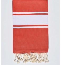 toalla de playa roja amapola tejido plato