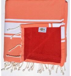 toalla de playa,duplicado esponja salmón y rojo