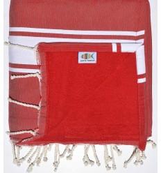 toalla de playa, duplicado esponja roja