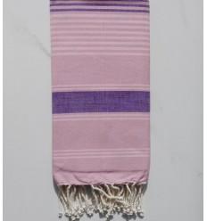 Toalla de playa Dina rosa con rayas violeta y rosa claro