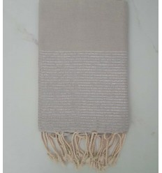 FOUTA Lurex tejido liso gris perla