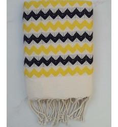 Fouta zigzag crudo amarillo y negro