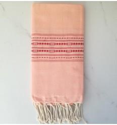 Toalla de spa rosa con motivos rojo