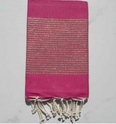 FOUTA Lurex tejido liso rosa caramelo