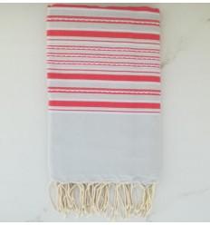 toalla de playa arabesco azul humo con rayas rosa
