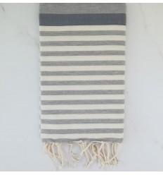 toalla de playa horizonte azul, gris y blanco