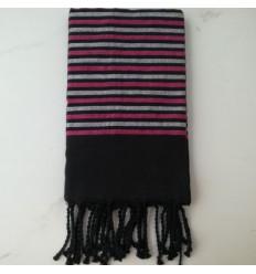 Toalla de playa lurex negro, rosa y plata