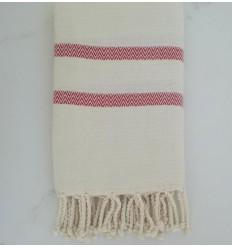 Toalla de playa cheurón blanco crema y rojo