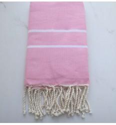 Toalla de playa rosa claro cheurón