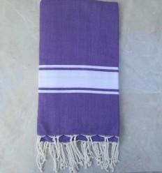 toalla de playa grande púrpura banda blanca