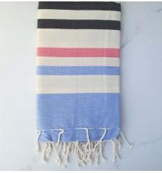 Toalla de playa azul, gris antracita, blanco cremoso y rosa