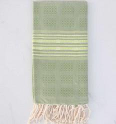 Toalla de spa verde con motivos fruo verde claro