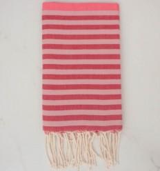 Toalla de playa Fouta rosa, rojo y rosa pálido