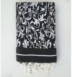 Fouta fleur gris noir et blanc