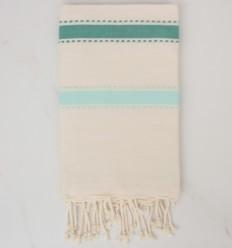 Fouta arabesco crema blanco, verde y turquesa