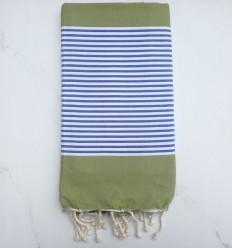 Toalla de playa plato verde oliva rayas azul y blanco
