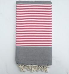Toalla de playa plato gris rayas rojas y blancas