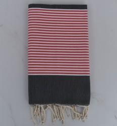 Toalla de playa gris oscuro a rayas rojo inglés y blanco