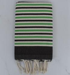Toalla de playa blanco crema, verde y oscuro bistre rayas 1 cm