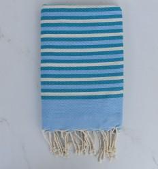 Fouta pato a rayas azul, cremoso blanco y azul 1 cm