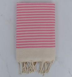FOUTA rayas rosa claro de 1 cm
