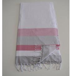 Fouta esponja blanca, rosa y gris
