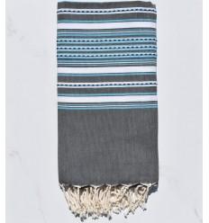 Fouta arabesco gris con rayas azul claro