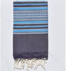 Fouta arabesco morado oscuro con rayas azules