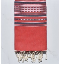 Fouta arabesco rojo con rayas de alfil morado
