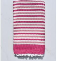Toalla de playa blanco roto y rosa con pompones