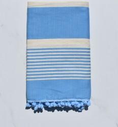 Toalla de playa crema blanca y azul