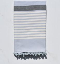 Fouta carrito blanco crema, gris y azul con pompones