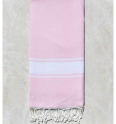 Toalla de playa gigante banda blanca rosa clara
