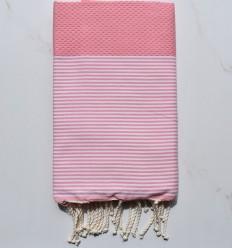 Fouta Toalla de playa blanco a rayas rosa pastel