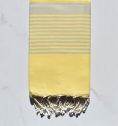 Toalla de playa Arturo amarillo claro rayado gris claro