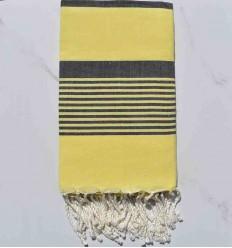 Toalla de playa arthur amarillo con rayas azul oscuro jean