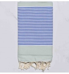 Toalla de playa plato verde pálido rayas azul y blanco