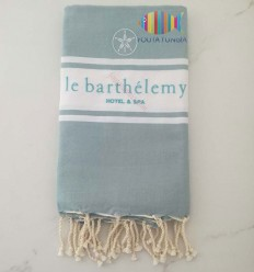 Fouta azul gris personalizado hotel saint barthélemy