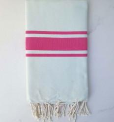 Toalla de playa plato pálido azul a rayas rosa