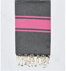 Toalla de playa plana gris oscuro con rayas rosas