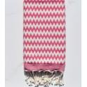 Toalla de playa zigzag rosa