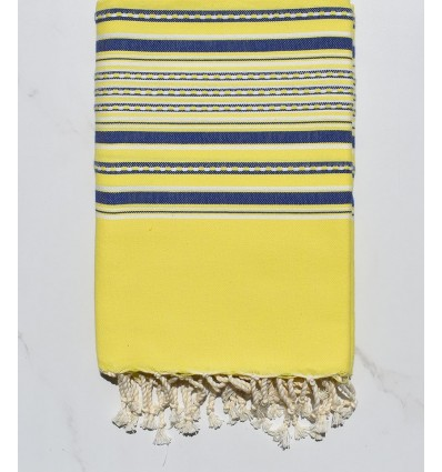Fouta arabesque jaune fluo et bleu