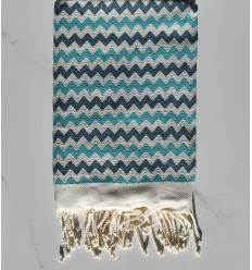 Toalla de playa de zigzag Crema , azul cobalto y turquesa.