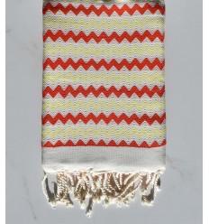 Toalla de playa de zigzag Blanco, rojo brillante y amarillo claro