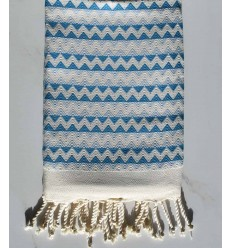 Toalla de playa de zigzag crudo, azul celeste Azul maya