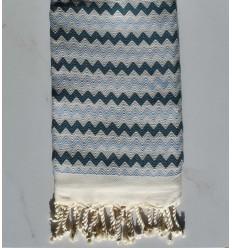Toalla de playa de zigzag blanco, azul cobalto y maya