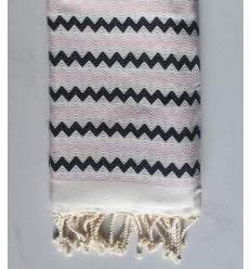 Toalla de playa de zigzag Blanco, rosa muy claro y negro