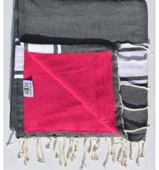 toalla de playa duplicado esponja gris pizarra y fucsia