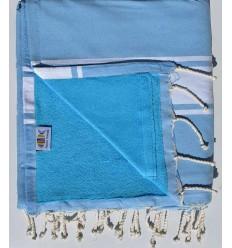 toalla de playa duplicado esponja azul, cielo y azul celestial