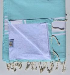 toalla de playa,duplicado esponja azul agudo marino y blanco